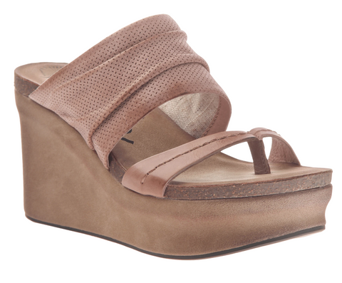 """Ole Tailgate in Nude/Warm Pink"" Platform Wedge Sandal"