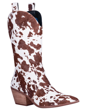 """Ole Live A Little"" Brown/White Cow Puncher Print Hair On Hide Boots"