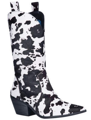 """Ole Live A Little"" Black/White Cow Puncher Print Hair On Hide Boots (DS)"
