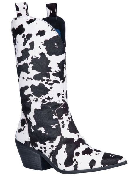 """Ole Live A Little"" Black/White Cow Puncher Print Hair On Hide Boots"