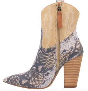 """Ole Calico"" Ivory Suede Leather Snakeskin Print Boots (DS)"