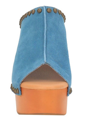 """Ole Peace & Love"" Suede Leather Studded Platform Clogs ~ DENIM BLUE (DS) ~ PREORDER 8/2021"