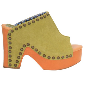 """Ole Peace & Love"" Suede Leather Studded Platform Clogs ~ LIME GREEN (DS) ~ PREORDER 8/2021"