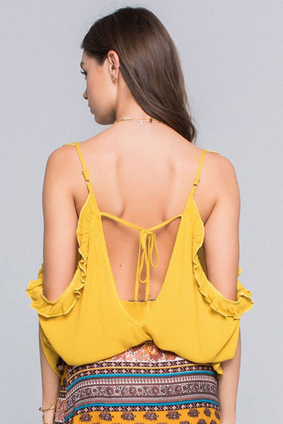 """Ole Patience"" Mustard Drape Backless Ruffle Blouse ~ FINAL SALE"