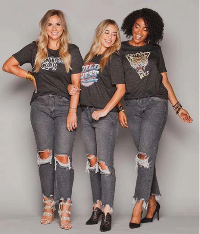 """Ole Roscoe"" Buddy Love Brand Charcoal Distressed Denim Boyfriend Jeans"