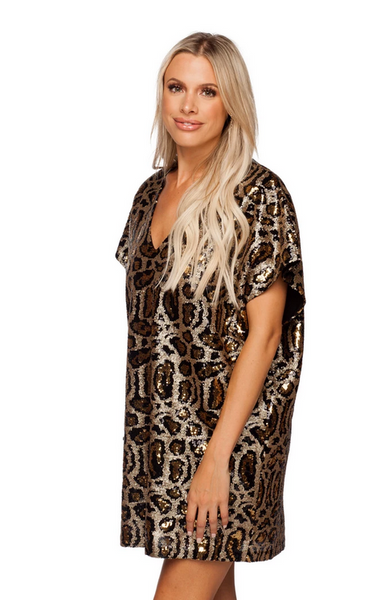 Buddy Love Leopard Sequin Mini Dress