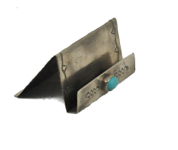 J. Alexander Rustic Stamped Silver & Turquoise Business Card Holder