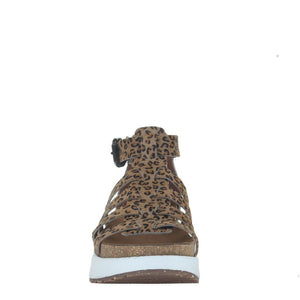 """Ole Carbon In Cheetah"" Hair On Hide Platform Sandals"