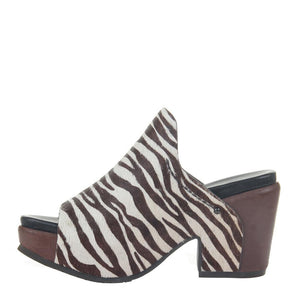 """Ole Cornith In Zebra"" Hair On Hide Platform Mule Sandal"