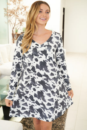 """Ole LovaBull Night"" Black & White Cow Print Night Gown"