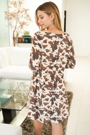 """Ole LovaBull Night"" Brown & White Cow Print Night Gown"