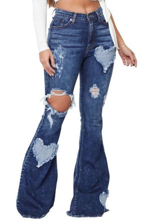 """Ole Hearts On Fire"" Cut Out Heart Patch Dark Stone Wash Distressed Denim Flare Jeans"