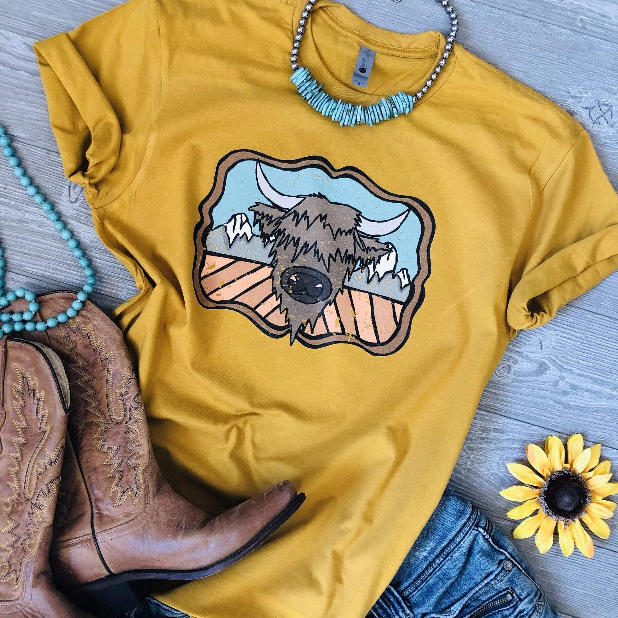 """Ole Highland on the Mountain"" Cartoon Highland Cow Graphic Tee ~ (made 2 order)"