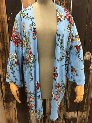Sky Blue Floral Print Duster/Cardigan ~ Size Medium ~ Queen Bee's Closet