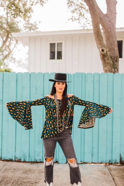 """Ole Shenandoah"" Dark Teal & Mustard Leopard Print Bell Sleeve Off the Shoulder Top"