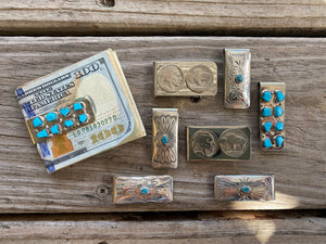 """Ole Big Spender"" Sterling Silver & Turquoise Money Clips"