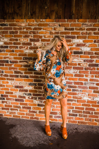 """Ole Sugar Magnolia"" Vintage Floral Print Tunic Dress"