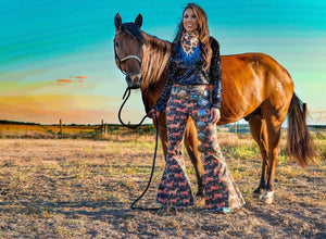 """Ole Wild Horses Dragging Me Away"" Horse Print Denim Bell Bottom Flares"