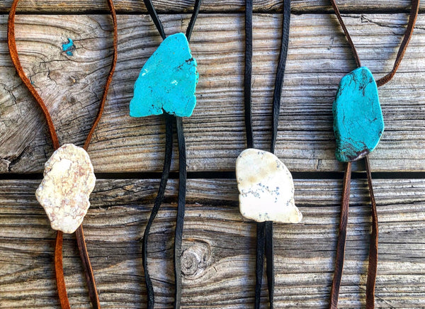 Turquoise & Ivory Slab Leather Bolo Necklaces