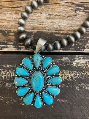 """Ole Scottsdale"" Flower Blossom Pendant Navajo Pearl Necklace"