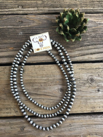 Navajo Pearl Triple Strand Bib Style 24 inch Necklace ~ 8 & 10mm