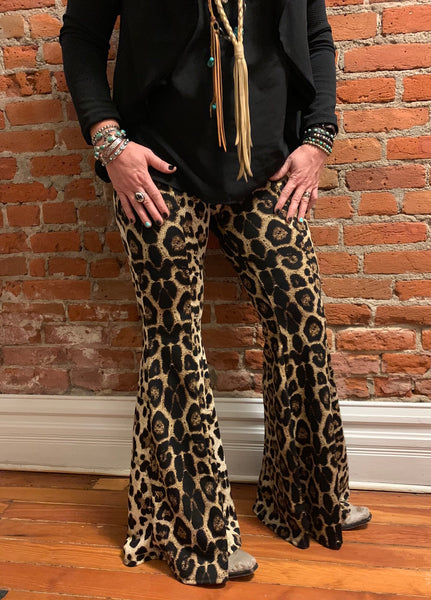 """Ole Queen of the Jungle"" Leopard Print Super Bell Bottom Pants"