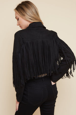 """Ole Fringe Benefits"" Black Suede Fringe Jacket"