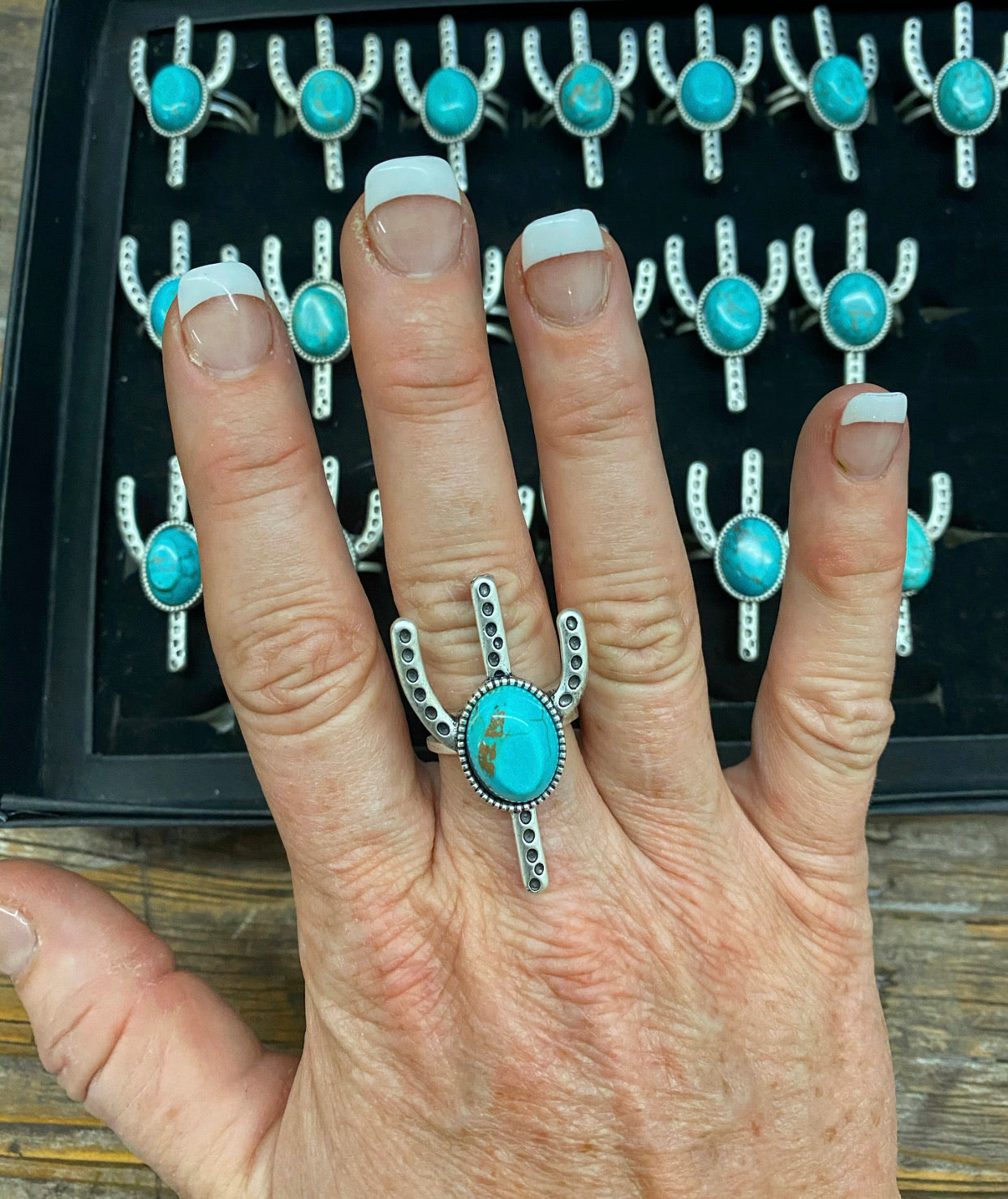 """Ole Cactus Moon"" Turquoise & Silver Adjustable Ring"