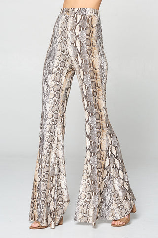 """Ole Desert Plains"" Sandy Brown & Gray Python Snakeskin Print Bell Bottoms"