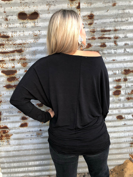 """Ole Lady Madonna"" Dolman Sleeve Top &/or Mini Dress ~ Black"