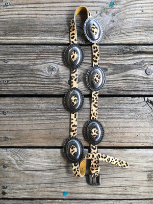 """Ole Bernadine"" Antique Style Engraved Concho Leather Belt ~ Leopard Hide"