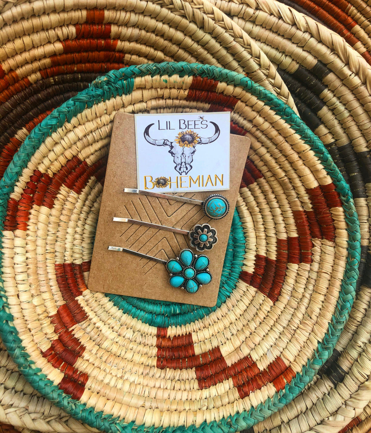 """Ole Dainty Diva"" Turquoise Hair Pin Set &/or Cowgirl Hat Accessories"