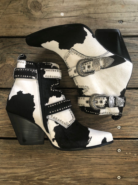 Jeffrey Campbell Cow Puncher Hair On Hide Studded Buckle Wedge Booties ~ Size 10