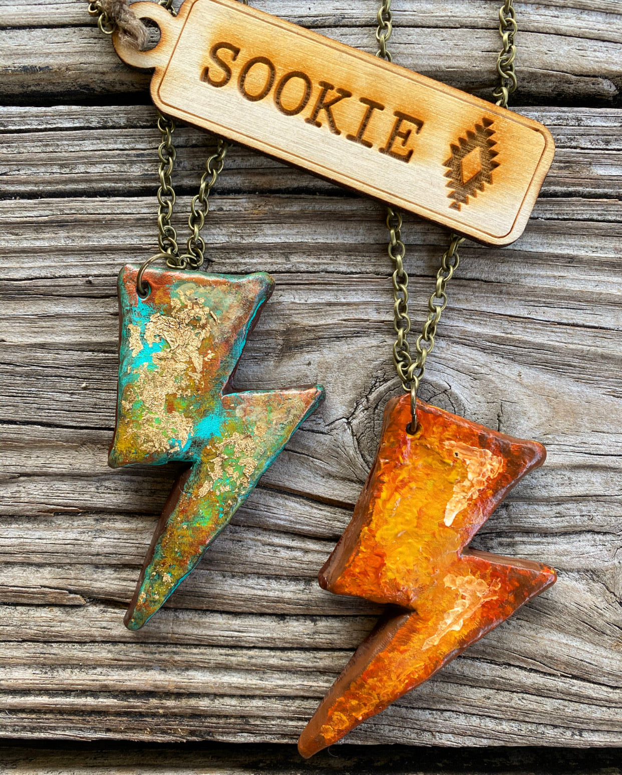"""Ole Thunderstruck"" Sookie Sookie Hand Painted Clay Lightning Bolt Necklaces"