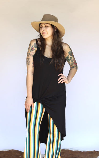 """Ole Higher Ground"" BLACK Hi Low Maxi Tank Top"