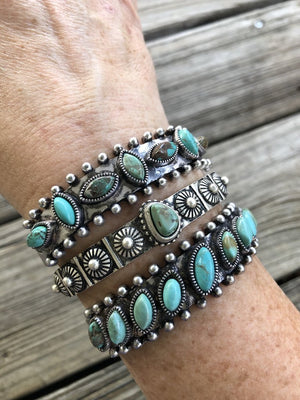 """Ole Stacker Queen"" Turquoise Stone Etched Silver Stacking Cuff Bracelets"