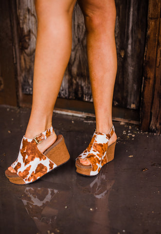 """Ole Jaunt In Stone"" Cow Puncher Hair On Hide Wedge Sandals"