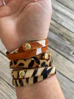 Leopard Print Hair On Hide Double Wrap Bracelet