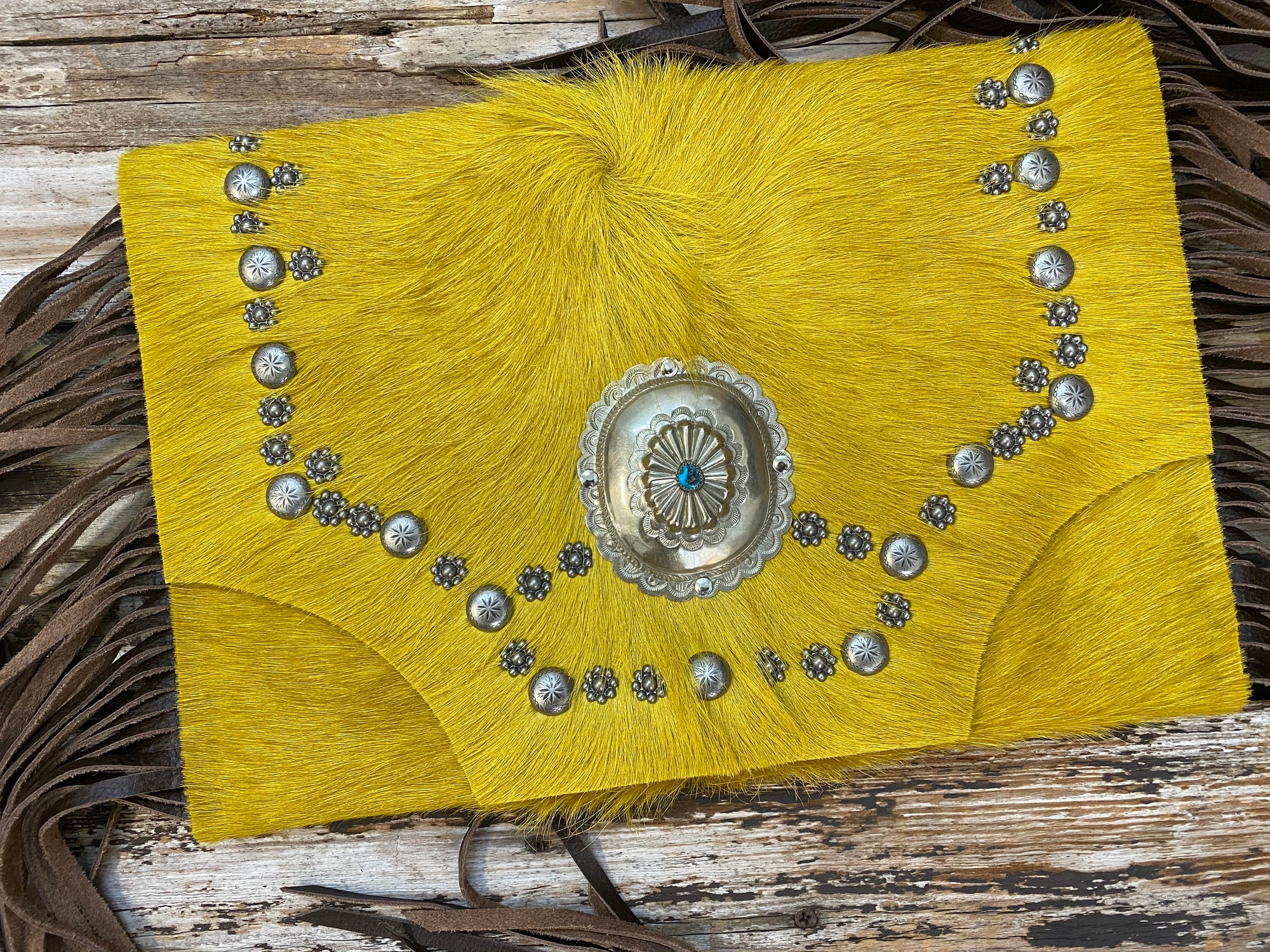 Whiskey Lee Mustard Cow Hide Antique Concho Leather Fringe Oversized Clutch ~ Queen Bee's Closet
