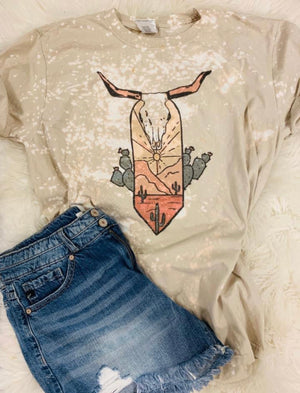 """Ole Cattle Crossing"" Desert Sunset Bleached Out Graphic Tee"