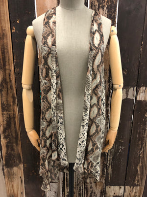 Sheer Snake Print Hi-Lo Duster/Vest ~ Size Small ~ Queen Bee's Closet