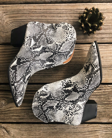 """Ole Hiss & Tell"" Snakeskin Booties"