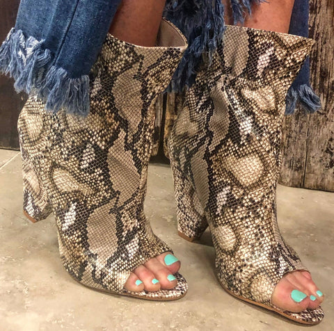 """Ole Snake Pit 2.0"" Brown Snakeskin Print Peep Toe Scrunch Booties"