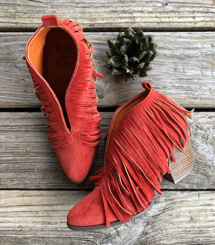"""Rust in Peace"" ~ Rusty Burnt Orange Suede Fringe V Cut Booties"