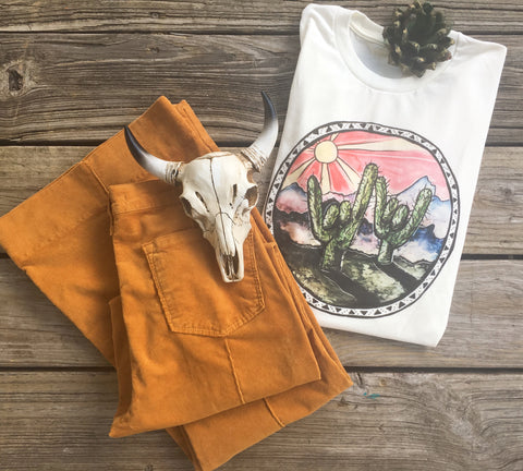 """Rockin' In The Free World"" Vintage Desert Cactus Tee"