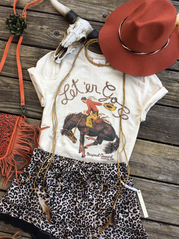 """Let'er Go"" Buckin' Bronco Graphic Tee"