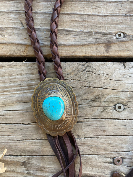 """Ole Oval Buckhorn"" Scalloped Silver & Turquoise Stone Oval Concho Braided Buckskin Leather Fringe Necklace"