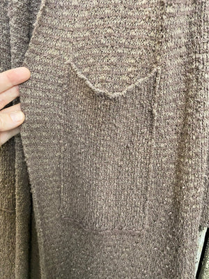 Free People Mocha Knit Long Sweater Duster Cardigan With Pockets ~ Size Large