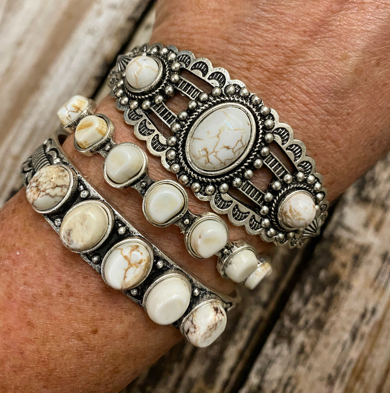"""Ole Stacker Queen"" White Buffalo Stone Etched Silver Stacking Cuff Bracelets"