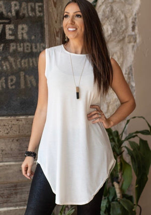 """Ole Downtown Girl"" Ivory/White Sleeveless Long Tunic Top"